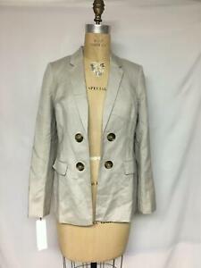 Calvin Klein Petite Linen Double-Breasted Blazer TO2JA805 Khaki 8P NWT $139