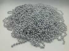 "Silver Plastic Bead Garland 5/16"" Diam Beads 127 Feet Long 12 Strands Holiday"