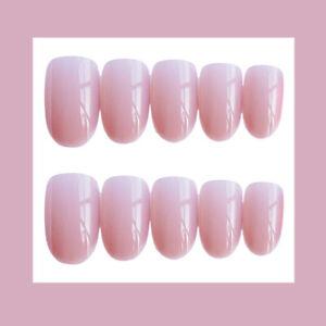 24 Stück Cute Pink Nail Art Acrylic False Nail Tips Short Round Head Fake Nail