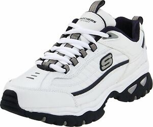 Skechers Mens Energy-After Burn Low Top Lace Up Running, White/Navy, Size 8.0 1g