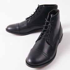 NIB $650 CANALI 1934 Black Leather Cap Toe Laced Ankle Boots US 9 D Shoes