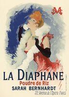 VINTAGE FRENCH ART PRINT La Diaphane - Jules Cheret 28x40 Poster Sarah Bernhardt