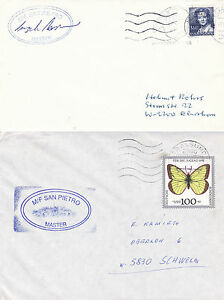ITALIAN CATAMARAN MF SAN PIETRO 2 SHIPS CACHED COVERS - ONE CAPTAIN SIGNED