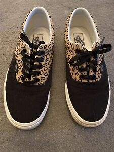 Vans Era Black Leopard Canvas Trainers Rare Size 7 (40.5)