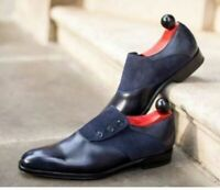 Handmade Leather two tone Black Leather Gray,suede Button shoes for men
