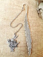 Antique Silver Rabbit Bunny Alice in Wonderland Feather Bookmark  Pendant Gift