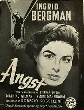 Fear Ingrid Bergman Mathias Wieman Renate Mannhardt 1954 Danish Movie Program