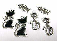 Cat Fish Bone Bead Charms Mix 13 ~ 32 mm 10 pcs Rhinestone DIY Jewelry Making