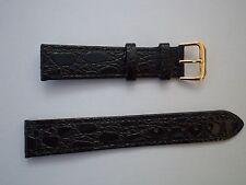 12 mm Negro Reloj Correa De Grano de Cocodrilo con Hebilla de color oro