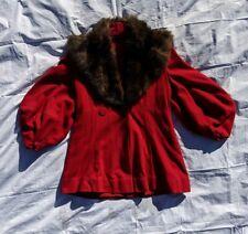 Vintage 40s Red Wool Lantern Poet Sleeve Insulated Fur Collar Coat L/XL