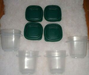 4 x  Rubbermaid Easy Find Lid   4 oz   Food Storage Container  Green  Lid