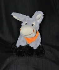 Peluche doudou âne cheval FIZZY gris foulard orange 18/23 cm assis TTBE