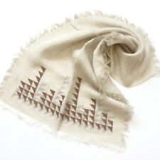 A500 Hand Self fringes Triangle Embroidery 100% LINEN SCARF Long stole NATURAL