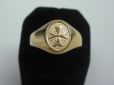 new yellow gold plated  oval signet ring knight of malta maltese cross all size
