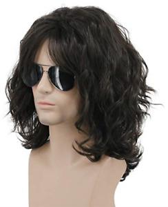 Karlery California 70s 80s Rocker Wig Men Women Long Curly Dark Brown Halloween
