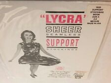 Nos Vintage Lycra Nylon Sheer Seamless Support Stockings Beige Made In USA Mod M