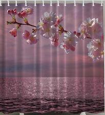 Cherry Blossom Fabric SHOWER CURTAIN Ocean Sea Flower Bloom Floral Bath Decor