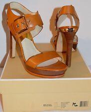 New $165 Michael Kors Becca Sandal Peanut Brown Leather Platform/Buckle sz 6.5