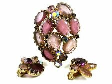 1950's Pink Purplish Aurora Borealis Rhinestones Brooch Earrings Unmarked 102014
