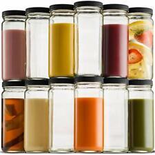 Glass Travel Mason Jar Bottle 16 Ounce [12-Pack] For Smoothies, Juice, Kombucha