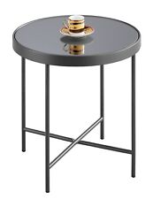 FINO Mirrored Round Side/End Table/Lamp Table (Anthracite/Grey Mirror)-ST33GY