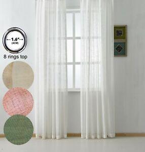 "Sheer Ultra Luxurious Flax Linen Voile Curtain,Grommet Top 55""W*94""L 2 Panels"