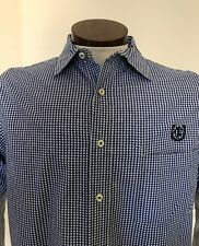 Nautica Men Plaid White/blue Shirt Short Sleeve Size Medium