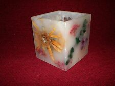 Hurricane Candle Tealight Holder Acetate and Real Flowers Made in Usa