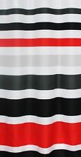 FABRIC SHOWER CURTAIN,Multi-Color STRIPED RED WHITE SILVER & BLACK