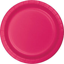 "24 Hot Magenta Pink Wedding Birthday Party Tableware 7"" Paper Dessert Plates"