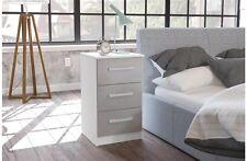 Birlea Lynx High Gloss 3 Drawer Bedside Cabinet - Grey & White