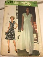 7538 Simplicity Sewing Pattern Evening Maxy Dress Above Normal Waistline 14