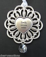 v Smile you are loved ganz heart SUNSHINE & FLOWERS ORNAMENT rehab car charm