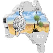 1 $ Dollar Emu Australian Map Shaped Australien 1 oz Silber 2012