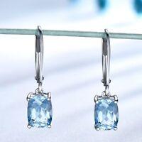 Women 925 Sterling Silver Sky Blue Topaz Drop Earrings Elegant Gemstone Jewelry
