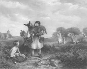 COUNTRY FARMER BOY KID Carries BABY Pet DONKEY ASS ~ 1863 Art Print Engraving
