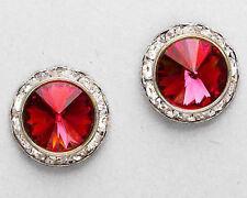 """Red Silver Post Stud 5/8"""" Women's Earrings Austrian Crystal Ruby"""