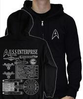STAR TREK NCC-1701 Original HOODIE James T Kirk starfleet logo blueprints S- 5XL