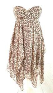 Warehouse Silk Strapless Animal Print Party Evening Summer Dress Size UK10