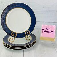 Fitz & Floyd IMPERIAL DYNASTY BLUE Gold Lattice Porcelain Dinner Plate Set of 5