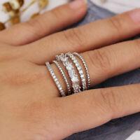 925 Silver Luxury Wedding Rings Jewelry Fashion White Sapphire Ring Gift Sz 6-10