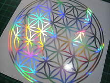 Flower of Life Rainbow Silver Aluminium Sticker