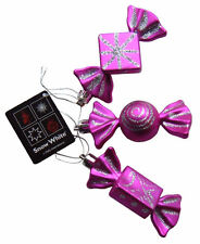 Christmas Tree Baubles Bright Pink & Silver Sweet Candy Ornaments, 3 Decorations