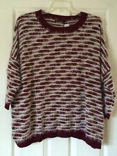 NWT Eyelash Sweater by qed london Port/Cream Acrylic  M/L $156!