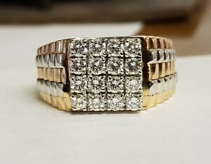 Gents 18ct Rose And White Gold Diamond Ring 1.05ct