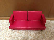 2005 Barbie Doll Red Sofa Love Seat Futon Living Room Decor Collection Furniture