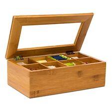 Relaxdays Boîte À Thé en Bambou 8 compartiments Coffret Sachets Vrac HxLxP ...