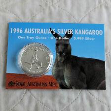 Australia 1996 1oz $1 .999 Fine Silver CANGURO-RAM scheda di presentazione