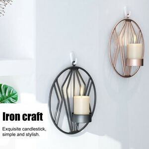 Geometric Candlestick Iron Wall Book Holder Hanging Display Home Party  z g