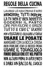 Wall stickers Le Regole della Cucina Adesivo Murale nero Alta Qualità Frasi